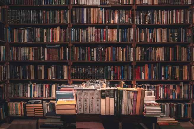 books on wooden shelves inside library